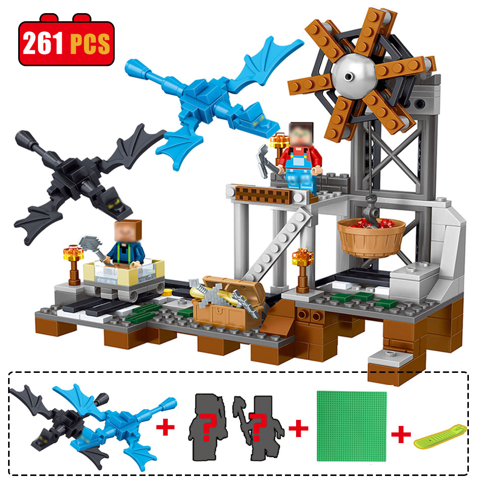 261PCS Minecrafted The Mine Mini Bricks Set Sale My World Building Blocks Assembled Toys For Children Compatible with legoes часы mini world mn1012a