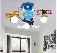 Бесплатная Доставка Красочные потолочный светильник Мальчик Дети Спальня лампы номер Освещение E27 светодиодные лампы мультфильм пульт дис