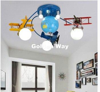 Бесплатная доставка, цветная потолочная лампа для мальчиков, Детская лампа для спальни, освещение комнаты, E27, светодиодная мультяшная ламп...