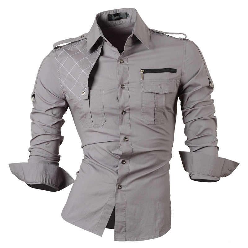 Jeansian erkek uzun kollu elbise Casual gömlek Slim Fit moda şık tasarımcı askeri 8371