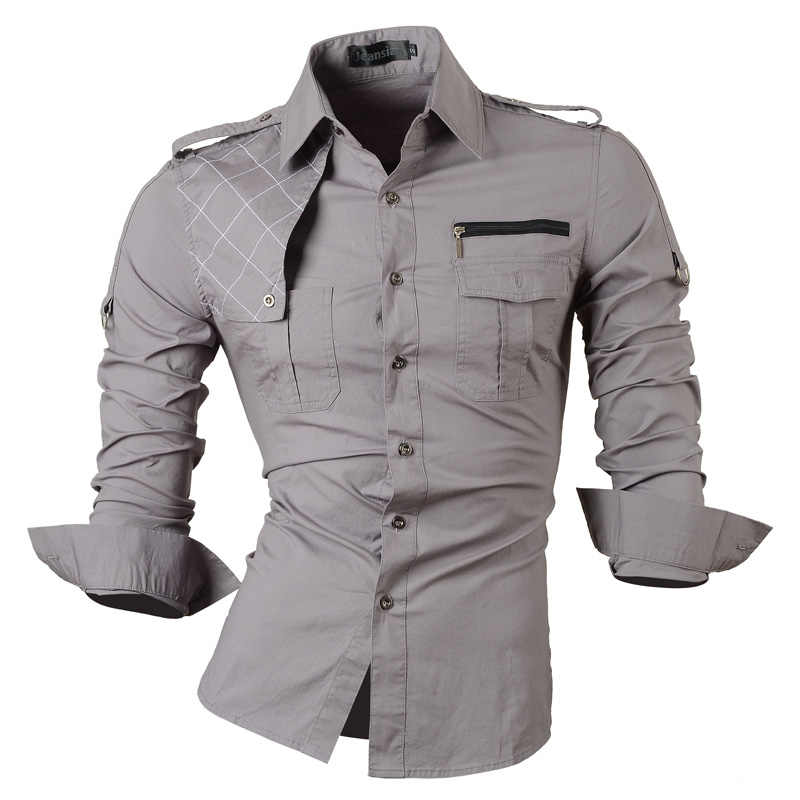 Vestido de manga larga para hombre de jeansian, camisas informales ajustadas, diseño elegante, militar 8371