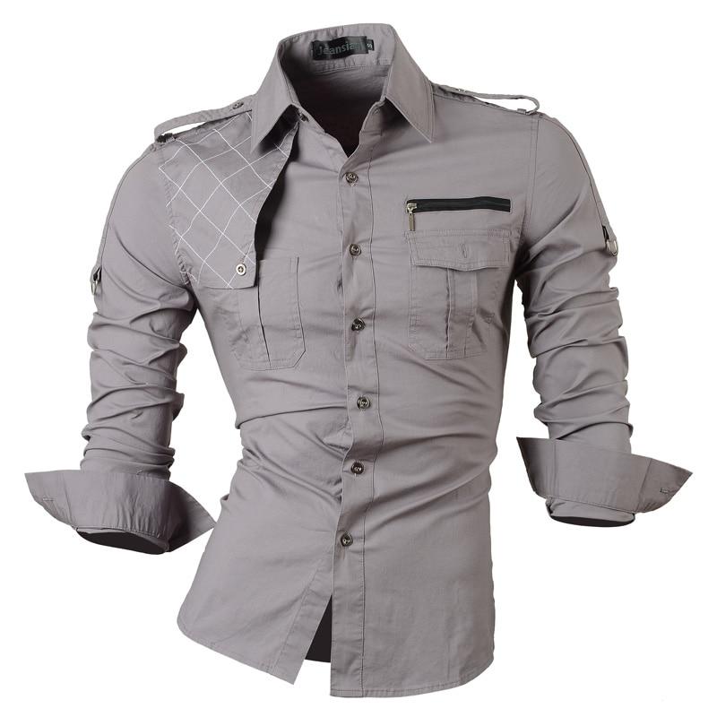 HTOOHTOOH Men Military Stylish Button Down Shirts Slim Fit Long Sleeve Cotton Shirts