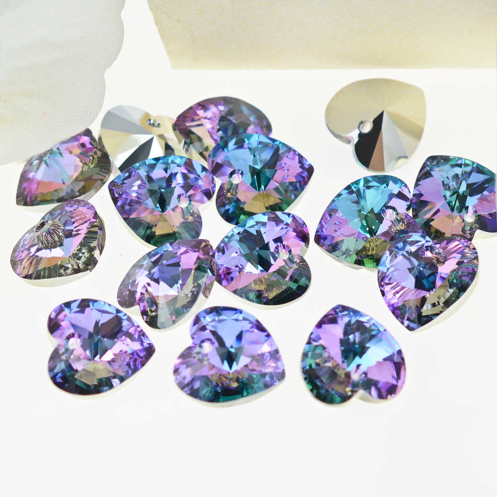 (1 piece) 100% Original crystal from Swarovski 6228 XILION Heart pendant  rhinestone beads for DIY jewelry making