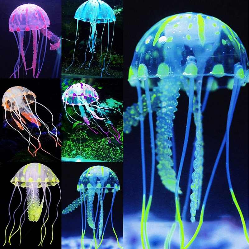 6pcs ว่ายน้ำประดิษฐ์แมงกะพรุนเรืองแสง Aquarium ตกแต่งถังปลา Underwater Plant เครื่องประดับส่องสว่างน้ำภูมิทัศน์