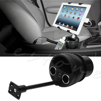 12 24V Power Cup Mount Car Charger Cup Holder Playbook Tablet USB Universal New