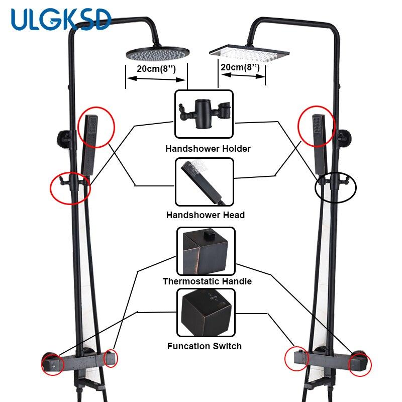 ULGKSD Bathroom Thermostatic Shower faucet Rain Shower Faucets Valve Handshower head Sprayer Mixer Water Bath Tap
