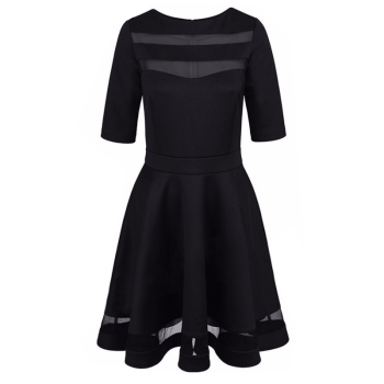 Women Dress Spring Summer European Style Ladies Knee Length Vintage Mesh Sexy Black Party Dresses Vestidos 1