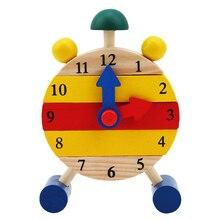 1 Pc Montessori drewniane Puzzle zabawki dla dzieci czas cyfrowy nauka edukacja gra edukacyjna niemowlę dzieci Mini Puzzle zegar