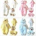 DR0009 Frete grátis top qualidade bebê de inverno de espessura de pelúcia macacão escalada roupas de bebê menino/menina dos desenhos animados urso bodysuit varejo