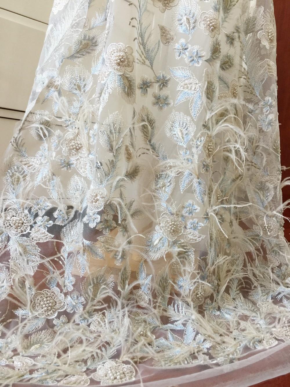 1 Cour 3D Autruche Plumes Dentelle Tissu avec Faux Perles en Champagne Bleu pour la Haute Couture Robes, lyrique Ballet Costume