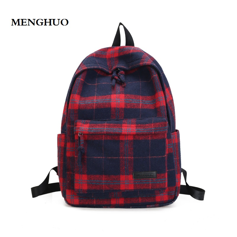 Menghuo2017women Backpack Hot Fashion Causal Bags High Quality Female Shoulder School Bag Wool Plaid Backpacks For Women Mochila