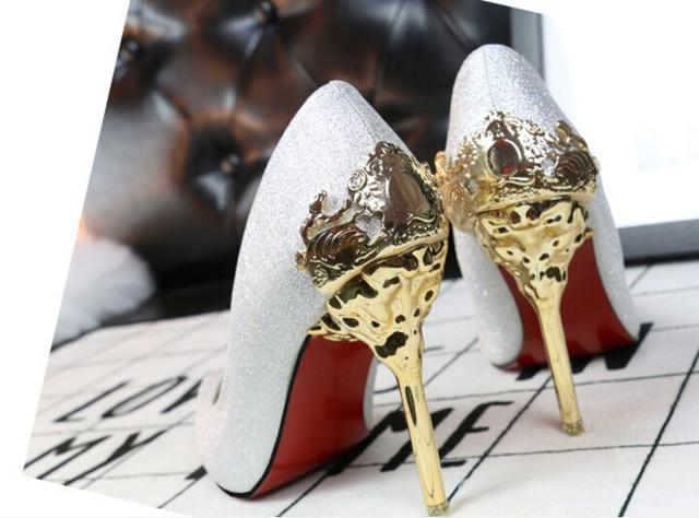 Sexy high heels women shoes Metal flower mujer ladies Golden shoes women pumps Europe America fashion wedding shoes high heels