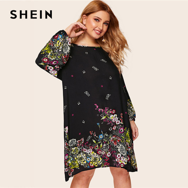3ea96ab6af08 SHEIN Plus Size Keyhole Back Lantern Sleeve Floral Print Dress Women Spring  Black Boho Keen Length