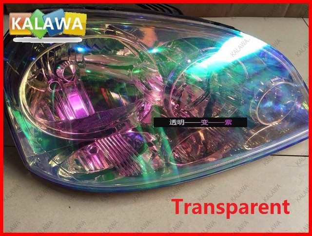 1 Roll 0.3MX9M Transparent Color Change HeadLight Taillight Tint ...
