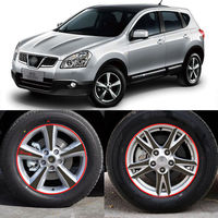Car Styling 16 17 Inches Carbon Fiber Wing Wheels Mask Decal Sticker Trim For Nissan Qashqai