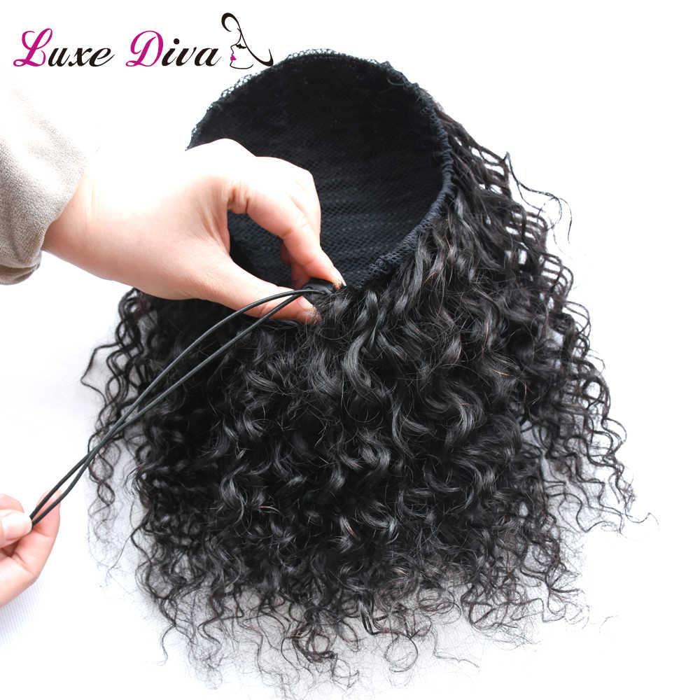 Афро кудрявый конский хвост remy волос 1 шт. зажим в хвостиках шнурок клип в человеческих волос для наращивания для черных женщин Роскошная Дива