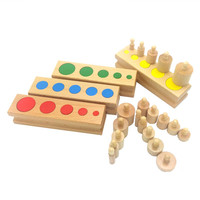 Montessori Kids Toy Baby Wooden Cylinder Block Set Montessori Materials Learning Educational Toys for Kids Birthday Gift ME2164H