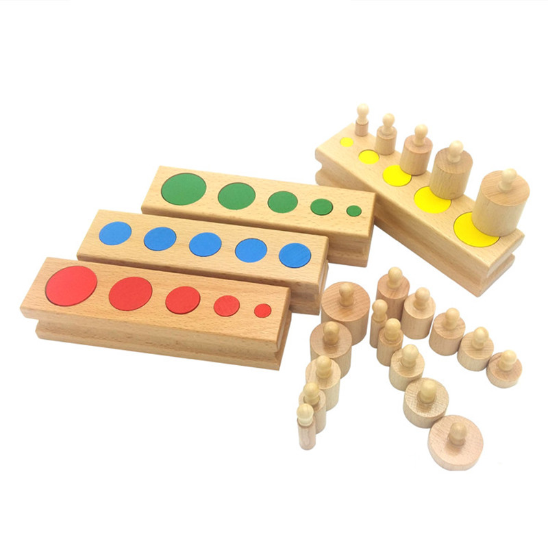Responsible Montessori Kids Toy Baby Wooden Cylinder Block Set Montessori Materials Learning Educational Toys For Kids Birthday Gift Me2164h Shrink-Proof Home