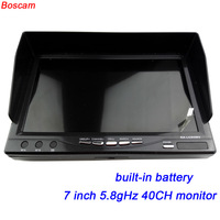 BOSCAM 7 인치 fpv 모니터 5.8 천헤르쯔 TFT LCD 무선 오디오 비디오 rc 쿼드 콥터 40CH 수신기 RX 내장 배터리 드론 uav