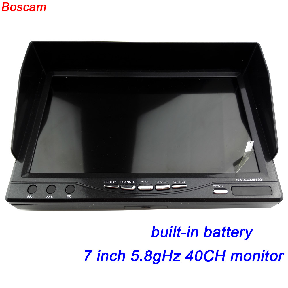 BOSCAM 7 inch fpv monitor 5.8ghz TFT LCD wireless audio video rc quadcopter 40CH receiver RX built-in battery drone uav parts boscam fpv 5 8ghz 4 in 1 d58 4 audio video diversity receiver
