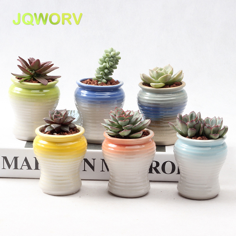 Small Ceramic Flower Pot Color Small Old Pile Succulent Flower Pot Home Garden Balcony Breathable Creative Lovely Plant Pot