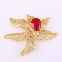 Big Charms Flower Handmade Craft Pendant Making Fit Pearl Jewelry Necklace Decoration Micro Pave CZ Red