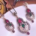 Diseño especial mujeres partido la joyería fija estilo turco collar pendientes Set gota de agua roja corazón colgante de Metal Max Brincos