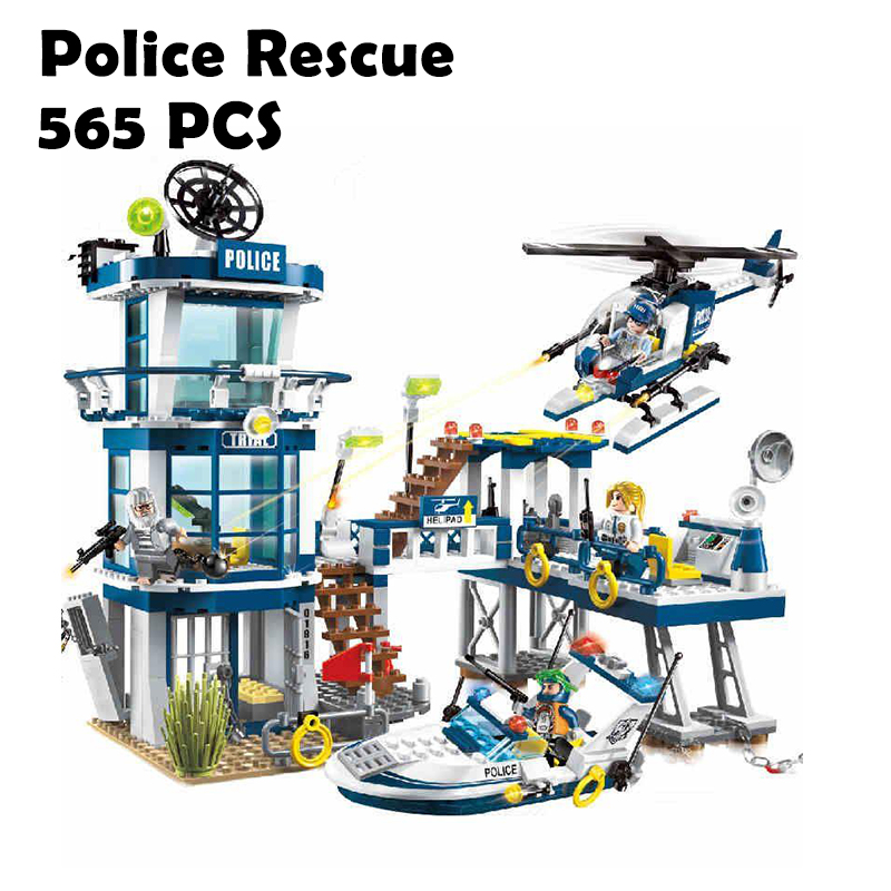 1916 Police Rescue Plan Helicopter Models building toy Enlighten Model City Building Blocks compatible with lego toys & hobbies lepin 02012 city deepwater exploration vessel 60095 building blocks policeman toys children compatible with lego gift kid sets