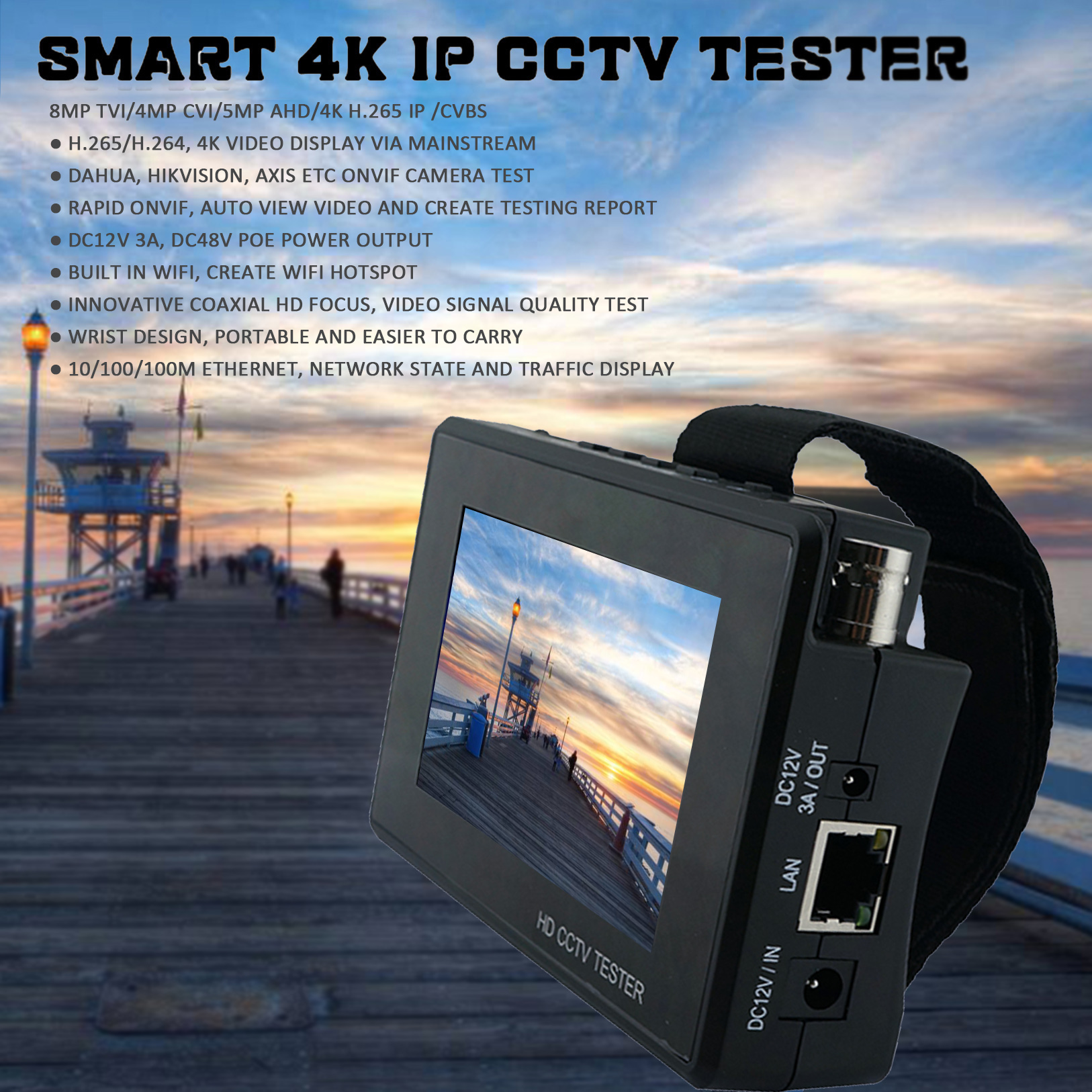 NEW Smart 8MP CCTV TESTER IPC 1800 Plus H265 264 Guide 4 Inch 4K Security device