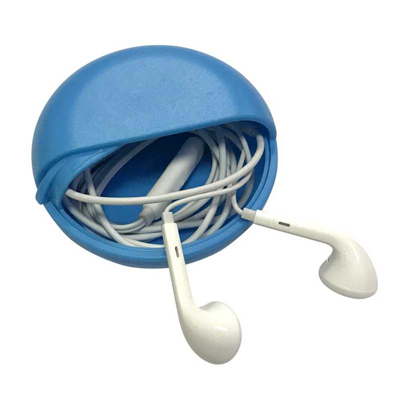 Round Slide Push Pull Type Headphone Data Cable Storage Bag For Outdoor Travel Headphone Line Organizer Storage Box