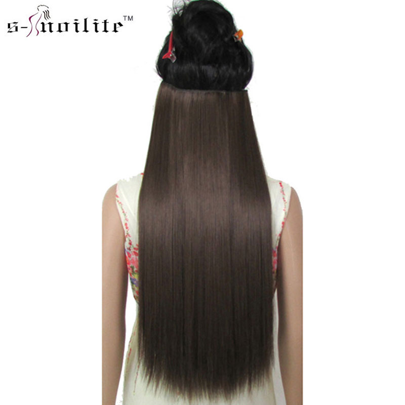 SNOILITE 26 дюймов длинные Для женщин 5 клип в наращивание волос Одна деталь прямые чёрный; коричневый русый красный Рыжий Синтетический ...