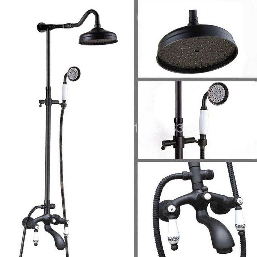 Brass Wall Mount Black Oil Rubbed Bronze Bathroom Rain Shower Faucet Set Bath Tub Hot Cold Mixer Tap Dual Ceramic Handle ahg634