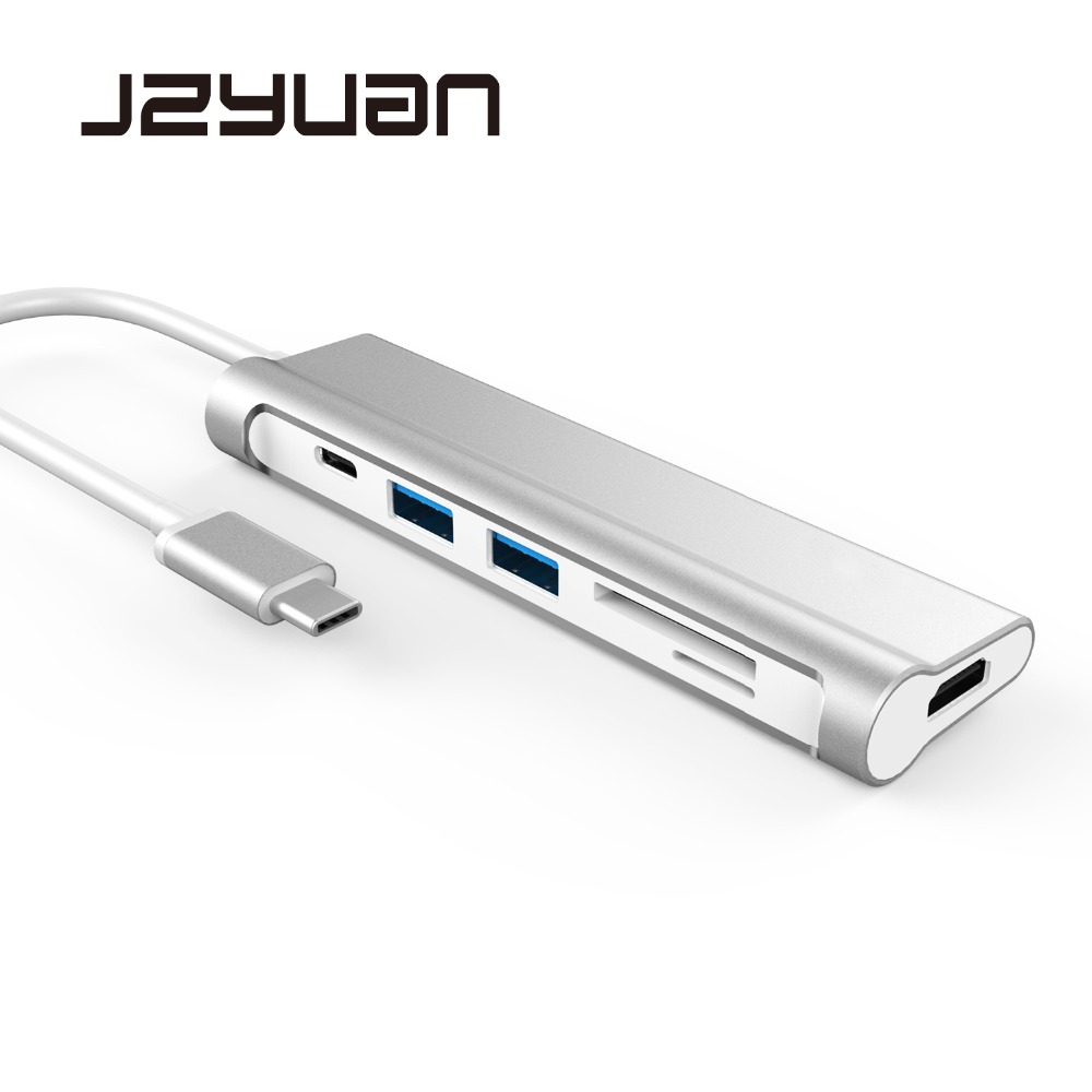 JZYuan Aluminum USB HUB USB C 3.1 to HDMI SD/TF USB Type C Charging Port USB 3.0 HUB Thunderbolt 3 Adapter For DELL MacBook Pro usb type c pd wall charger fast charging power adapter for new macbook pro dell 9350 acer r13 samsung asus hp