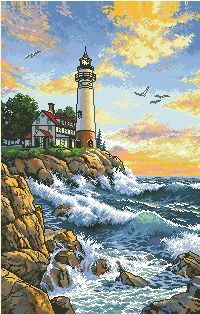 Top Quality Beautiful Lovely Counted Cross Stitch Kit The Lighthouse Light House At The Seaside Port