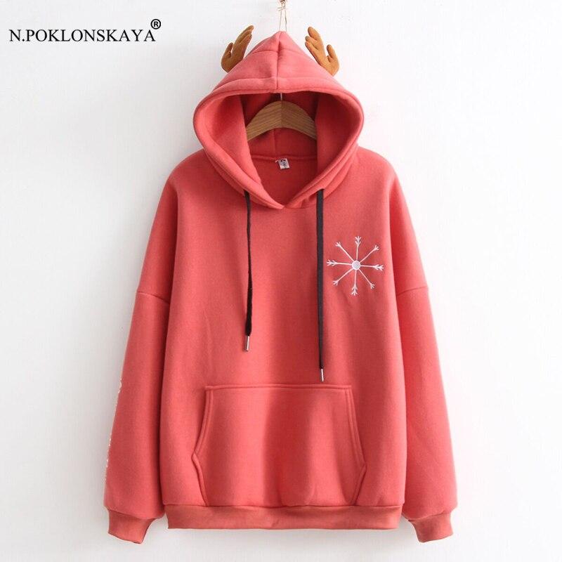 N.POKLONSKAYA Women 2018 New Kawaii Sweatshirt Long Sleeve Pullovers with Horn Cute Winter Hooded Hoodies Harajuku Cotton Tops