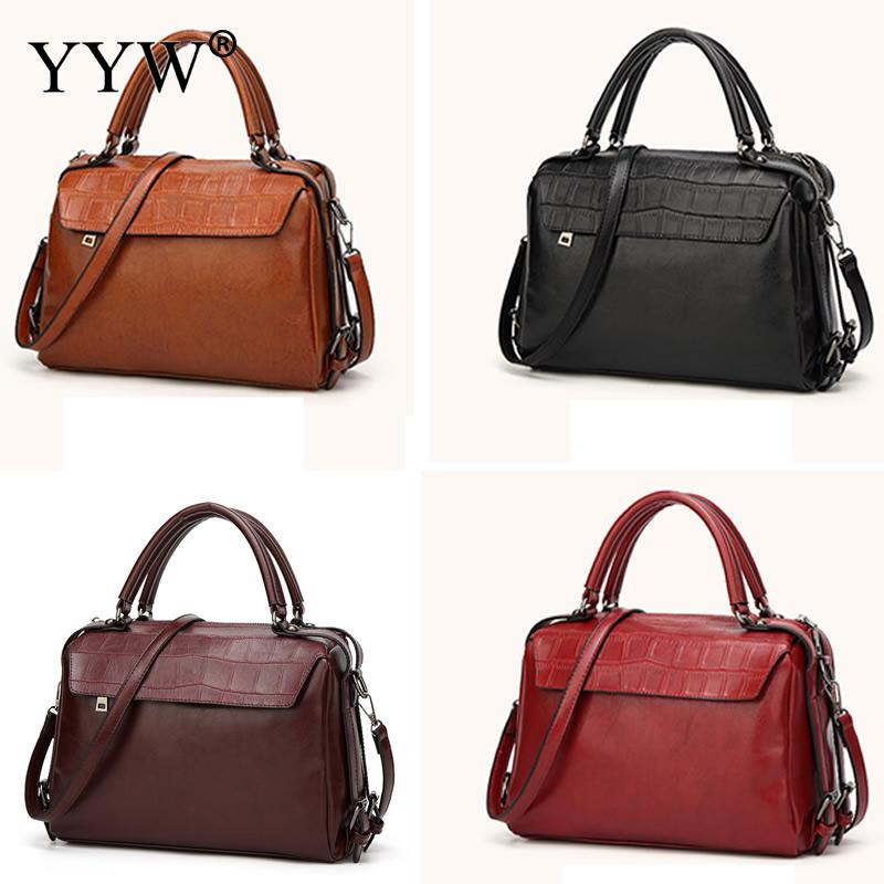 Alligator PU Leather Female Tote Bag Brown Women'S Handbags Crossbody Bags For Women 2018 New Designer with Cell Phone Pocket tassels pu leather pocket tote bag page 3