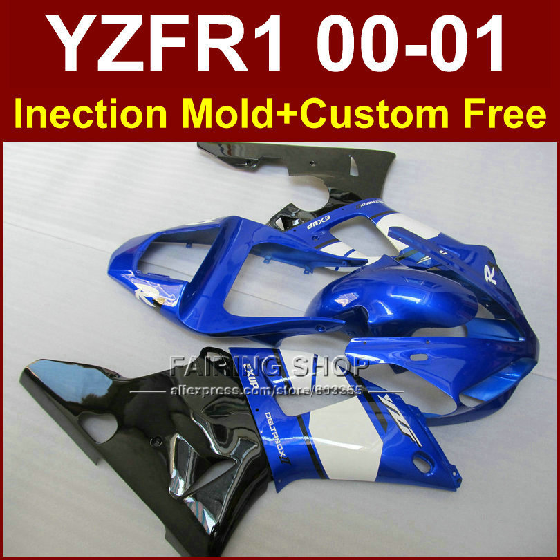 Синий мотоцикл Кузов для Yamaha YZFR1 2000 2001 Обтекатели YZF R1 YZF1000 exup части тела YZF 1000 00 01 Aftermarket + 7 подарки