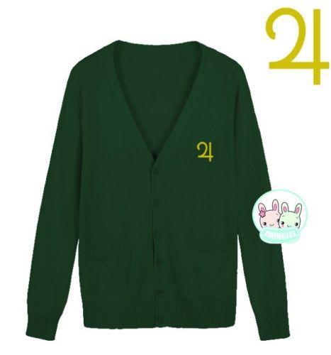 Милая женская японская Униформа-матроска, символ Луны, свитер на пуговицах, кардиган с длинными рукавами, зимний толстый - Цвет: Green