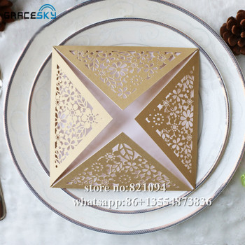 50Xfree shipping laser cutting New Flowers four side open design invitation cards with inner paper for wedding party invitation