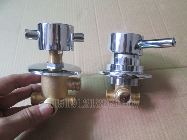 2PCS=1 SET Brass shower room mixer faucet separate, 3/4/5 way water outlet bathroom shower faucet mixing valve 3 tap connect 3 4 5 gear screw thread thermostatic faucet valve shower room mixing valve cold and hot water switch separator