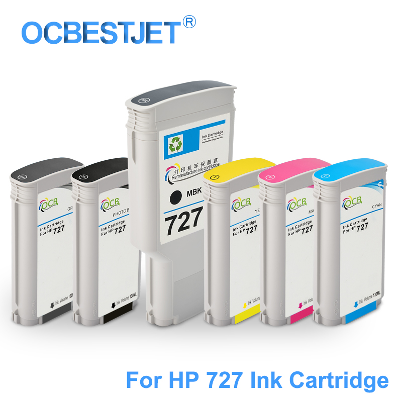 For HP 727 Replacement Ink Cartridge Compatible For HP DesignJet T920 T930 T1500 T1530 T2500 T2530 Printer (PBK C M Y GY MBK) цена и фото
