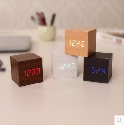 Modern Sounds Control Luminous LED Alarm Clocks With Thermometer Wood Digital Electronic Desk Table Clock Free Shipping