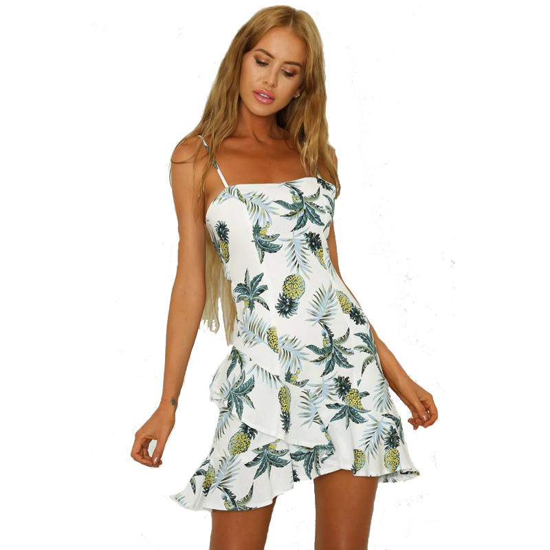 5af10b54f55 Detail Feedback Questions about Sexy Women Fashion Dresses 2018 Summer  Pineapple Pattern Print Sling Dress Sleeveless Casual A line Bech Dress on  ...