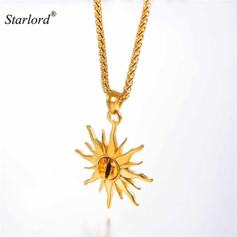 Eye of Sauron Pendant Necklace Gold/Stainless Steel Monster Evil Eye Jewelry Eye of Flame Sun Flower Necklace GP3244
