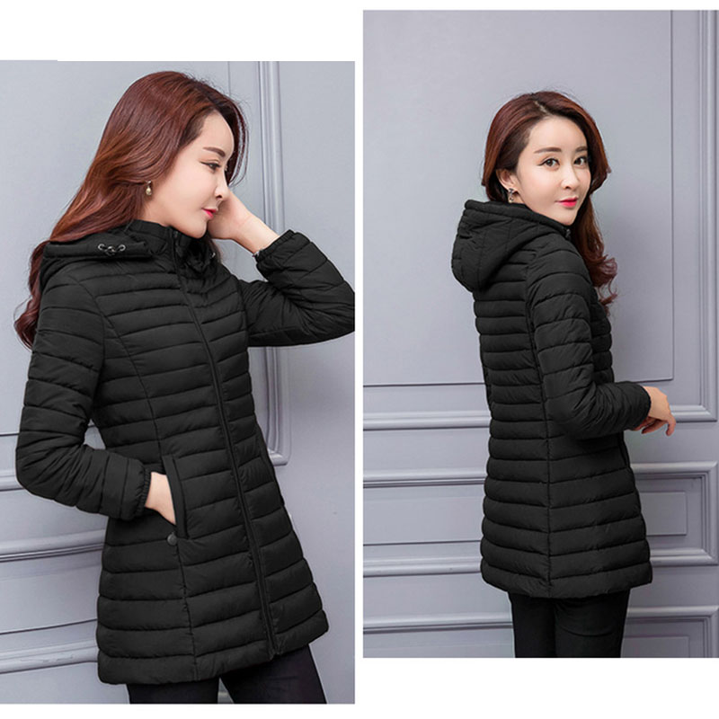 Image 5 - winter jacket women parka Large size Thicken warm Hooded long Slim Solid Down cotton coat jacket women Outwear Parkas-in Parkas from Women's Clothing