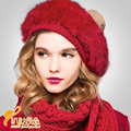 winter warm women cap rabbit fur hat pure angora beret cap tide of street warmth hat  B-0698