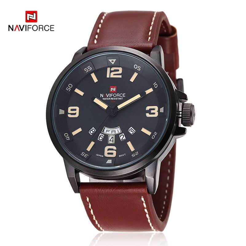 2017 Brand NAVIFORCE Watches men Casual Quartz reloj Leather wristwatch Army Military reloj hombre men s