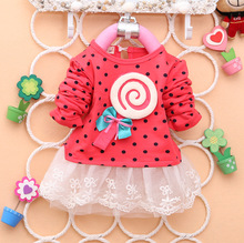 2016 Baby Girls Dress Cute lace Long Sleeve Spring Sport Princess Style Party Clothing   baby clothing summer style dress BK6601