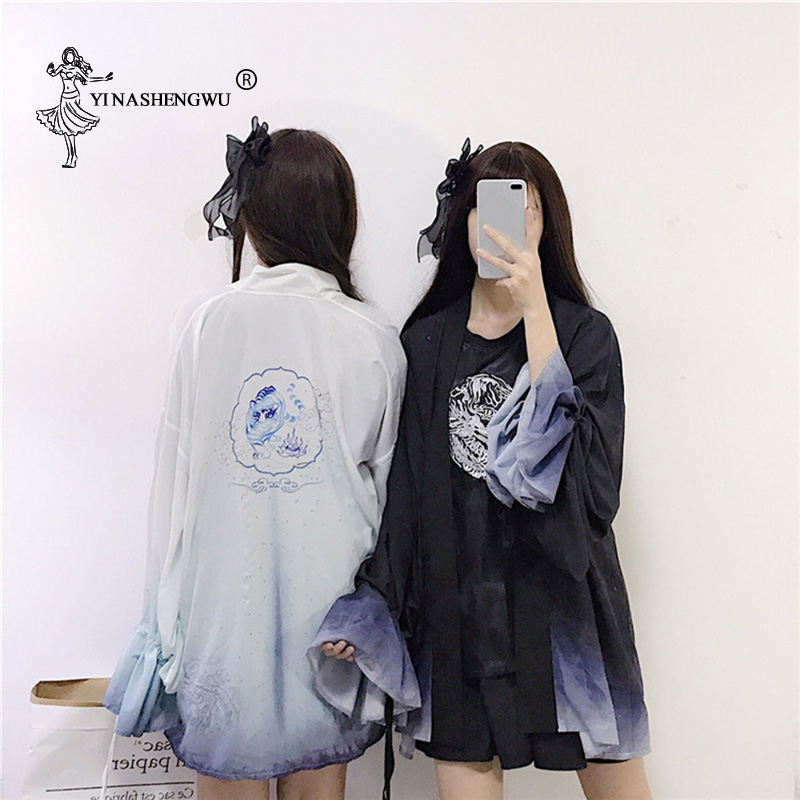 Long Sleeve Kimonos Print Cardigan Kimono Sun Protection Clothing Women Cosplay Costume Asia Japanese Traditional Yukata Women