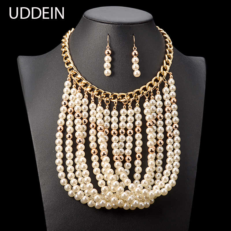 set jewelry multi layer tassel pendant simulated pearl necklace wedding bridal jewelry sets vintage maxi necklace women collar
